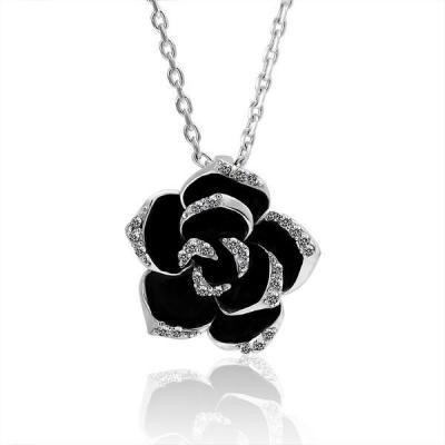 Jenny Jewelry N008 18K Real Gold Love Flower Necklace for Women