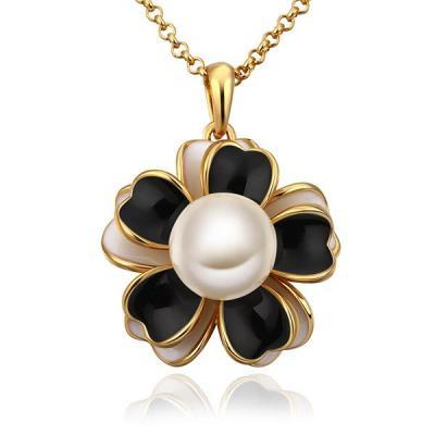Jenny Jewelry N709 18K Real Gold Plated Necklace pendantsNew Fashion Flower Pendant Necklace