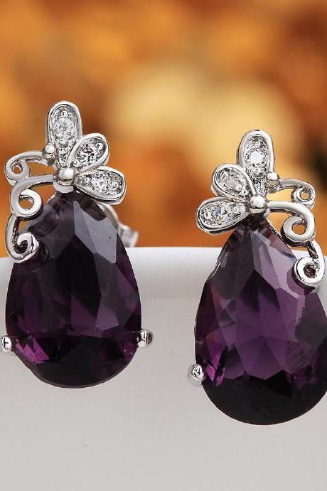 Jenny Jewelry FVRE008 Elegant Big Crystal Fashion Zircon Stud Earring