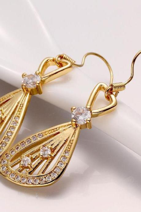 Jenny Jewelry E001-A 18K Gold Plating High Quality Ziccon Fashion Earring