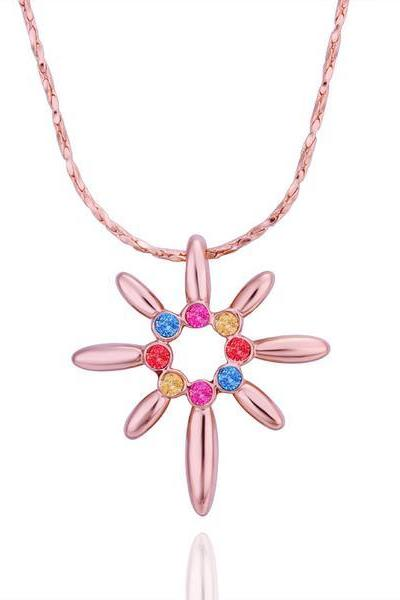 Jenny Jewelry N505 18K Real Gold Plated Necklace flower pendants New Fashion Jewelry