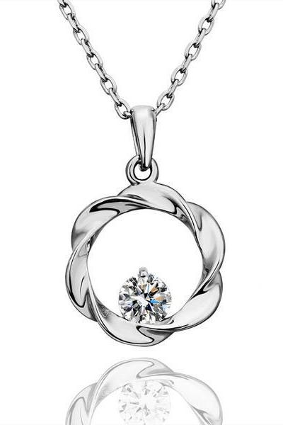Jenny Jewelry N526 ROHS Test Past 18K Real Gold Plated Zircon Stone Platinum Plated Pendant Necklace