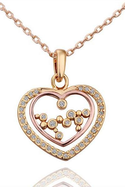 Jenny Jewelry N576 18K Real Gold Plated Couples' Heart Design Trendy Necklace