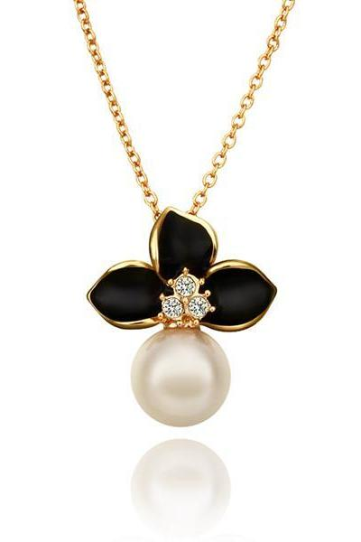 Jenny Jewelry N686 Free Anti-allergic 18K Real Gold Plated Fashion Pearl Design Necklace