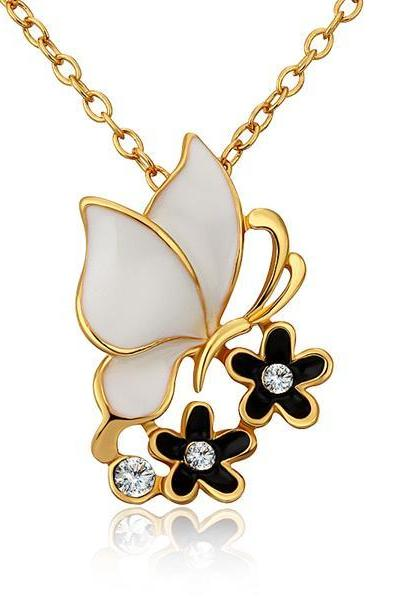 Jenny Jewelry N693 Free Anti-allergic 18K Real Gold Plated Fashion Butterfly Elegant Necklace