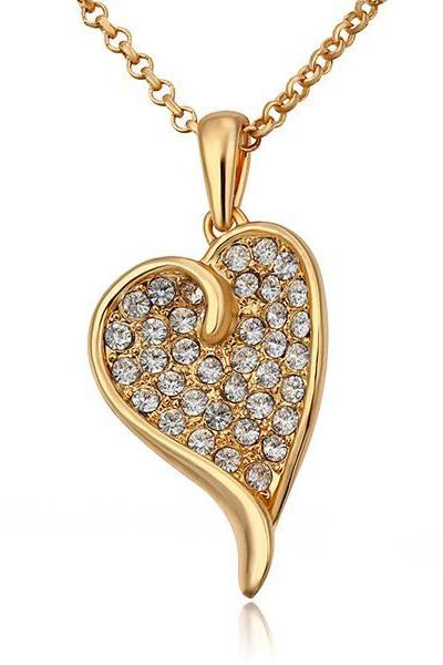Jenny Jewelry N707 Free Anti-allergic 18K Real Gold Plated Women Fashion Heart Crystal Jewelry
