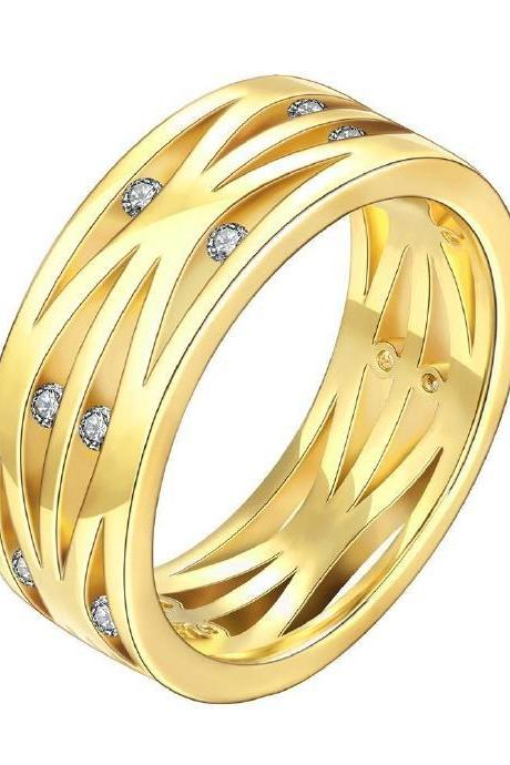 Jenny Jewelry R115-A-8 High Quality New Fashion Jewelry 24K Plated zircon Ring