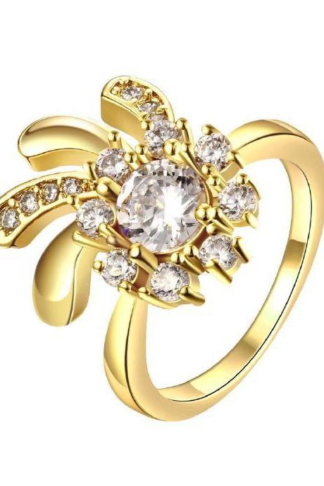 Jenny Jewelry R116-A-8 High Quality New Fashion Jewelry 24K Plated zircon Ring