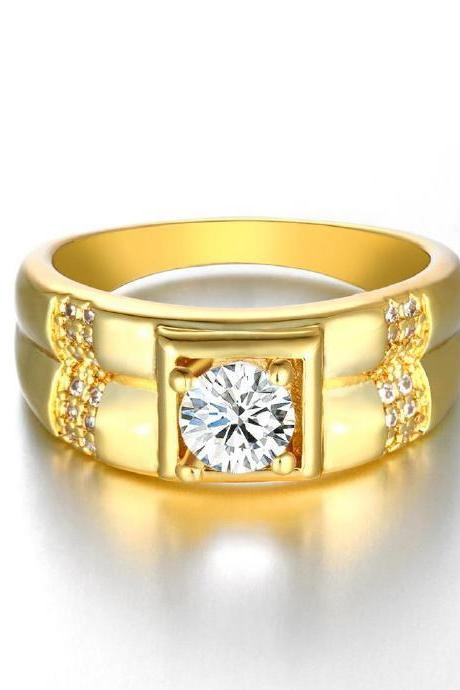 Jenny Jewelry R129-A-8 High Quality New Fashion Jewelry 24K Plated zircon Ring