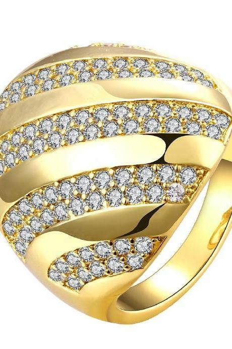 Jenny Jewelry R152-A-8 High Quality New Fashion Jewelry 24K Plated zircon Ring