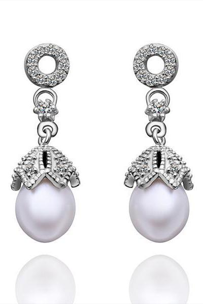 Jenny Jewelry E013 Brilliant Tiny Artificial Pearl Earring
