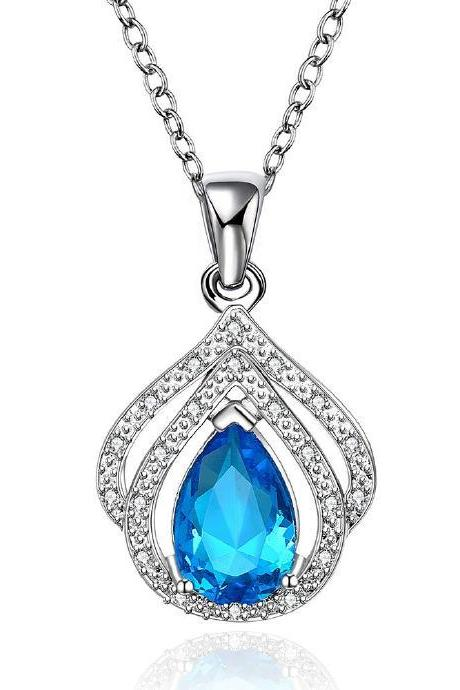 Jenny Jewelry FVRN016 Fashion High End Platinum Plating Ladies Necklace Crystal Pendant