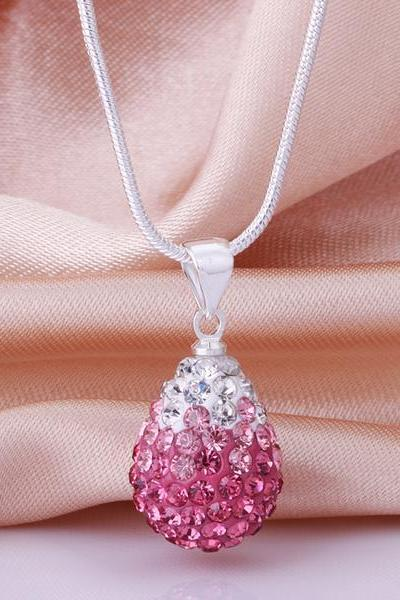 Jenny Jewelry N007 Mix color jewelries necklace Drop pendant Necklace Crystal Silver jewelry for women