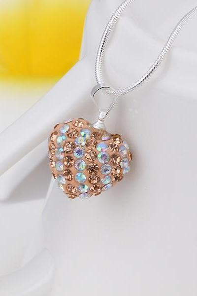 Jenny Jewelry N086 Mix color jewelries necklace Heart pendant Necklace Crystal Silver jewelry for women