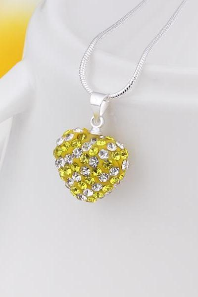 Jenny Jewelry N090 Mix color jewelries necklace Heart pendant Necklace Crystal Silver jewelry for women