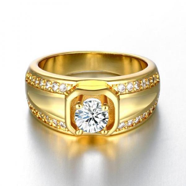 Jenny Jewelry R128-A-8 High Quality New Fashion Jewelry 24K Plated zircon Ring