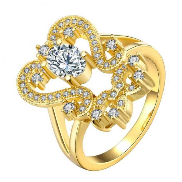 Jenny Jewelry R159-A-8 High Quality New Fashion Jewelry 24K Plated zircon Ring